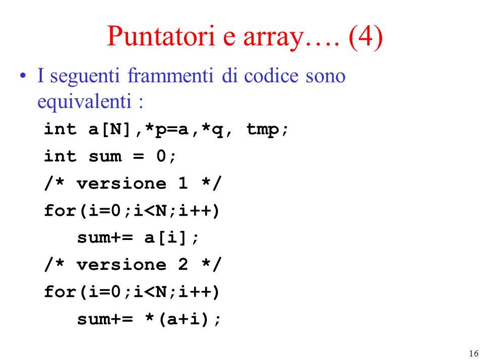Puntatori e array…. (4) I seguenti frammenti di codice sono equivalenti : int a[N],*p=a,*q, tmp; int sum = 0;